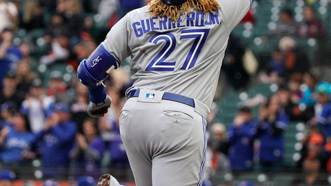 <p>               Toronto Blue Jays' Vladimir Guerrero Jr. points to the sky as he rounds the bases after hitting a solo home run against the San Francisco Giants during the first inning of a baseball game in San Francisco, Tuesday, May 14, 2019. (AP Photo/Tony Avelar)             </p>