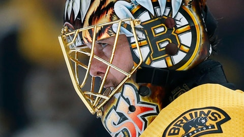 <p>               Boston Bruins goaltender Tuukka Rask, of Finland, stands in net during the third period in Game 1 of the NHL hockey Stanley Cup Final against the St. Louis Blues, Monday, May 27, 2019, in Boston. (AP Photo/Michael Dwyer)             </p>