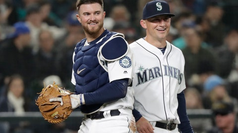 <p>               FILE - In this March 29, 2018, file photo, Seattle Mariners catcher Mike Marjama, left, and third baseman Kyle Seager smile after a play by Marjama against the Cleveland Indians during a baseball game in Seattle. Retired catcher Marjama has been suspended for 80 games following a positive steroids test. Major League Baseball said Thursday, May 2, 2019, that Marjama had applied for reinstatement from the voluntary retired list and was suspended for a positive test for the banned performance-enhancing substance Oxandrolone. (AP Photo/Elaine Thompson, File)             </p>