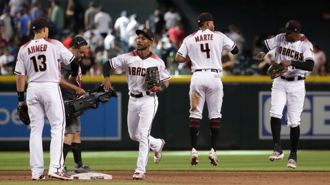 <p>               Arizona Diamondbacks celebrate after a baseball game against the New York Yankees, Wednesday, May 1, 2019, in Phoenix. The Diamondbacks won 3-2. (AP Photo/Matt York)             </p>