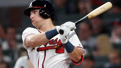 <p>               CORRECTS TO FIFTH INNING, INSTEAD OF SIXTH - Atlanta Braves' rookie Austin Riley follows through on a base hit in the fifth inning of the team's baseball game against the St. Louis Cardinals on Thursday, May 16, 2019, in Atlanta. (AP Photo/John Bazemore)             </p>