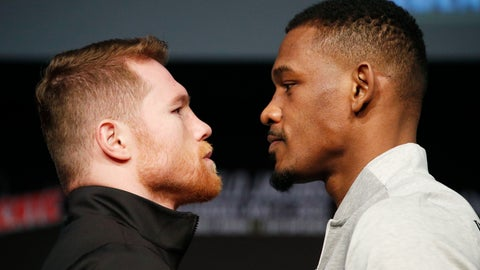 <p>               Canelo Alvarez, left, and Daniel Jacobs pose for photographers at a news conference for their middleweight title boxing match Wednesday, May 1, 2019, in Las Vegas. The two are scheduled to fight Saturday in Las Vegas. (AP Photo/John Locher)             </p>