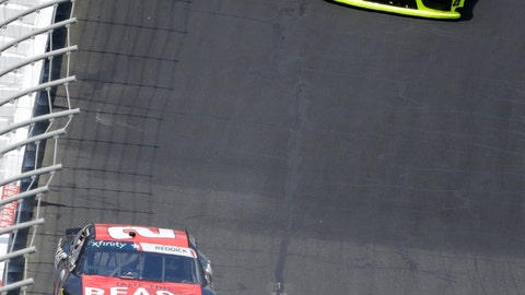 <p>               Tyler Reddick (2) leads Brandon Jones (19) out of Turn 4 during the NASCAR Xfinity Series auto race at Charlotte Motor Speedway in Concord, N.C., Saturday, May 25, 2019. (AP Photo/Chuck Burton)             </p>