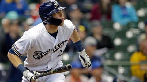 <p>               Milwaukee Brewers' Christian Yelich watches the ball after hitting a solo home run during the first inning of a baseball game against the Washington Nationals Wednesday, May 8, 2019, in Milwaukee. (AP Photo/Aaron Gash)             </p>