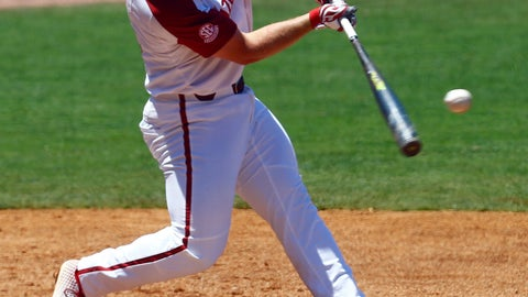 <p>               Arkansas' Dominic Fletcher hits a single during the third inning of the Southeastern Conference tournament NCAA college baseball game against Mississippi, Wednesday, May 22, 2019, in Hoover, Ala. (AP Photo/Butch Dill)             </p>