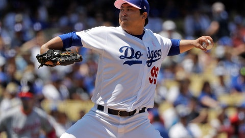 <p>               Los Angeles Dodgers starting pitcher Hyun-Jin Ryu throws to the Washington Nationals during the third inning of a baseball game Sunday, May 12, 2019, in Los Angeles. (AP Photo/Marcio Jose Sanchez)             </p>