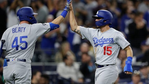 <p>               The Los Angeles Dodgers' Austin Barnes (15) is greeted by Matt Beaty (45) after scoring the go-ahead run on a single by Max Muncy during the ninth inning of a baseball game Friday, May 3, 2019, in San Diego. The Dodgers won 4-3. (AP Photo/Gregory Bull)             </p>