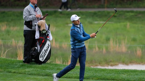<p>               Jordan Spieth follows through on an approach shot on the fourth fairway during a practice round for the PGA Championship golf tournament, Tuesday, May 14, 2019, in Farmingdale, N.Y. (AP Photo/Julie Jacobson)             </p>