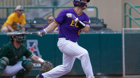 <p>               FILE - In this March 31, 2019, file photo, East Carolina's Spencer Brickhouse bats against South Florida during an NCAA college baseball game in Tampa, Fla. East Carolina is on the verge of winning its first conference title in a decade. Perhaps this also could be the team that finally gets the Pirates their first trip to the College World Series.(AP Photo/Mark LoMoglio, File)             </p>
