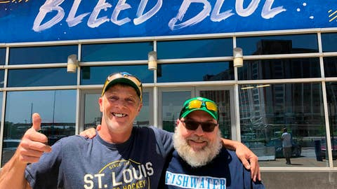 <p>               In this May 22, 2019 photo, longtime St. Louis Blues fans Stanley Jackson, left, and Steven Crow stand in front of the Enterprise Center in St. Louis, a day after the Blues defeated San Jose to earn a berth in the Stanley Cup Finals. The two friends, in their 50s, are life-long fans of the franchise that has never won a Stanley Cup. (AP Photo by Jim Salter)             </p>