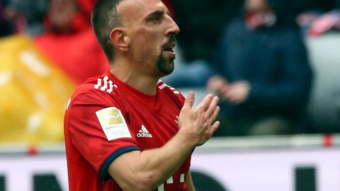 <p>               Bayern's Franck Ribery reacts after scoring his side's third goal during the German Bundesliga soccer match between FC Bayern Munich and Hannover 96 in Munich, Germany, Saturday, May 4, 2019. (AP Photo/Matthias Schrader)             </p>