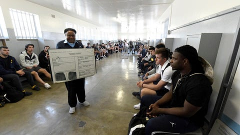 <p>               Members of the University of Michigan American Football Team listen to former prisoner turned guide, Ntando Mbatha, during their visit to Robben Island in Cape Town, South Africa, Sunday, May 5, 2019. The team visited the former prison Island where former President Nelson Mandela spent time. (AP Photo/Nasief Manie)             </p>