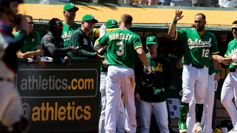 <p>               Oakland Athletics' Nick Hundley (3) celebrates after scoring a home run on a throwing error by the Cleveland Indians in the fifth inning of a baseball game, Saturday, May 11, 2019, in Oakland, Calif. (AP Photo/John Hefti)             </p>