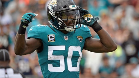 "<p>               FILE - In this Sept. 16, 2018, file photo, Jacksonville Jaguars linebacker Telvin Smith (50) gestures to fans during the first half of an NFL football game against the New England Patriots in Jacksonville, Fla. Smith, the team's leading tackler the last two seasons and a Pro Bowl selection in 2017, is stepping away from football to ""give this time back to myself, my family & my health."" (AP Photo/Phelan M. Ebenhack, File)             </p>"