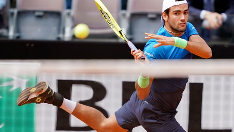 <p>               Matteo Berrettini, of Italy, returns the ball to Alexander Zverev, of Germany, at the Italian Open tennis tournament, in Rome, Tuesday, May, 14, 2019. (AP Photo/Andrew Medichini)             </p>