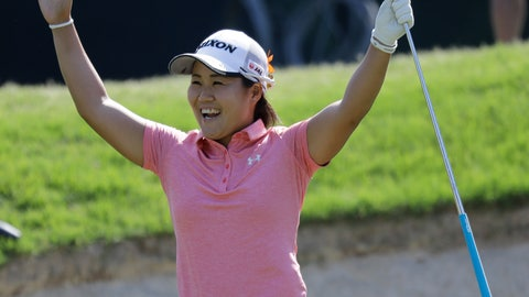 <p>               Nasa Hataoka, of Japan, reacts to a eagle putt on the 15th hole during the third round of the LPGA Tour golf tournament at Kingsmill Resort in Williamsburg, Va., Saturday, May 25, 2019. (AP Photo/Steve Helber)             </p>