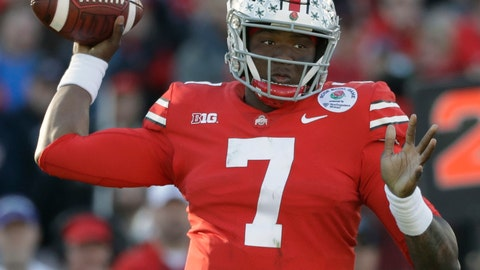<p>               FILE - In this Jan. 1, 2019, file photo, Ohio State quarterback Dwayne Haskins passes during the first half of the Rose Bowl NCAA college football game against Washington, in Pasadena, Calif.The Washington Redskins had their sights set on Dwayne Haskins and didn't even have to trade up to get their quarterback of the future. Washington selected the Ohio State standout with the 15th pick in the NFL draft, Thursday, April 25, 2019. (AP Photo/Jae C. Hong, File)             </p>