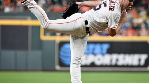 <p>               Houston Astros starting pitcher Justin Verlander follows through on a pitch during the first inning of a baseball game against the Chicago White Sox, Tuesday, May 21, 2019, in Houston. (AP Photo/Eric Christian Smith)             </p>