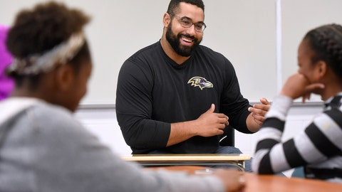 <p>               FILE - In this Tuesday, July 18, 2017, file photo, Baltimore Ravens lineman and math scholar John Urschel teaches a STEM lesson at Dundalk High School in Baltimore. Urschel is loving life after the NFL. It's been nearly two years since the offensive guard retired after just three seasons with the Baltimore Ravens. The 6-foot-3, 300-pound Canadian left millions of dollars on the table to pursue his two loves _ mathematics and time with his 16-month-old daughter, Joanna.  (Steve Ruark/AP Images for Texas Instruments, File)             </p>