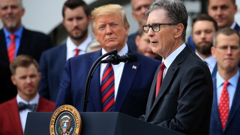 <p>               President Donald Trump listens as Red Sox owner John Henry speaks during a ceremony welcoming the 2018 World Series baseball champions to the White House, Thursday, May 9, 2019, Washington. (AP Photo/Manuel Balce Ceneta)             </p>