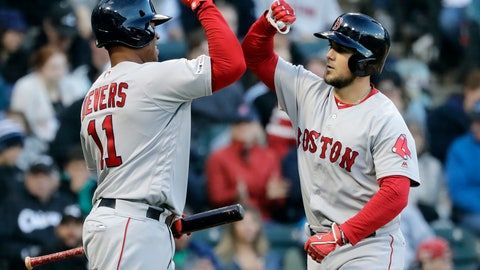 <p>               Boston Red Sox's Michael Chavis, right, celebrates with Rafael Devers after hitting a solo home run against the Chicago White Sox during the third inning of a baseball game in Chicago, Saturday, May 4, 2019. (AP Photo/Nam Y. Huh)             </p>
