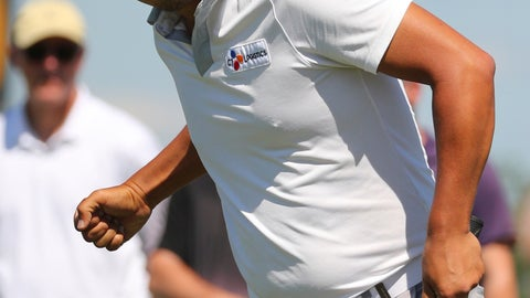 <p>               Sung Kang pumps his fist after a birdie putt on the 10th hole in the final round of the Byron Nelson golf tournament on Sunday, May 12, 2019, in Dallas. (AP Photo/Richard W. Rodriguez)             </p>