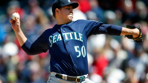 <p>               Seattle Mariners starting pitcher Erik Swanson delivers against the Cleveland Indians during the first inning of a baseball game, Sunday, May 5, 2019, in Cleveland. (AP Photo/Ron Schwane)             </p>