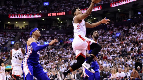 <p>               Toronto Raptors guard Kyle Lowry (7) scores against the Philadelphia 76ers during the second half of Game 5 of an NBA basketball second-round playoff series, Tuesday, May 7, 2019, in Toronto. (Frank Gunn/The Canadian Press via AP)             </p>