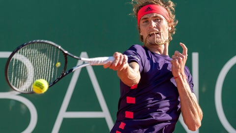 <p>               Alexander Zverev, of Germany, returns a ball to Hugo Dellien of Bolivia, during their quarter final match, at the ATP 250 Geneva Open tournament in Geneva, Switzerland, Thursday, May 23, 2019. (Martial Trezzini, Keystone via AP)             </p>
