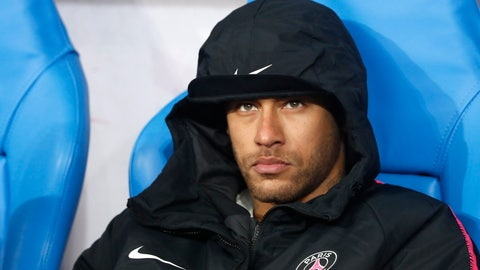 <p>               PSG's Neymar sits on the bench after loosing the French Cup soccer final between Rennes and Paris Saint Germain at the Stade de France stadium in Saint-Denis, outside Paris, France, Saturday, April 27, 2019. (AP Photo/Thibault Camus)             </p>