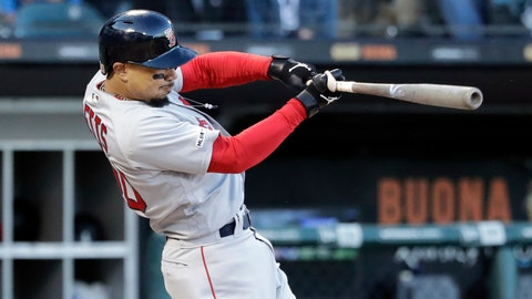 <p>               Boston Red Sox's Mookie Betts hits a two-run double against the Chicago White Sox during the third inning of a baseball game in Chicago, Saturday, May 4, 2019. (AP Photo/Nam Y. Huh)             </p>