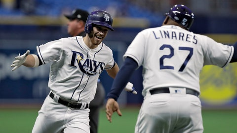 <p>               FILE - In this May 7, 2019, file photo, Tampa Bay Rays' Brandon Lowe, left, celebrates with third base coach Rodney Linares after hitting a home run off Arizona Diamondbacks pitcher Taylor Clarke during the first inning of a baseball game in St. Petersburg, Fla. They have a terrible stadium, hardly any fans and one of baseball's smallest payrolls. Yet, somehow, the Rays stay competitive year after year. It is one of the most compelling stories in sports, even if few people notice. (AP Photo/Chris O'Meara, File)             </p>