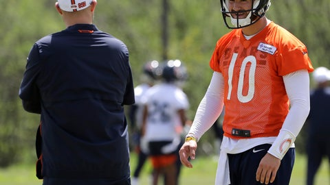 <p>               FILE - In this May 22, 2019, file photo, Chicago Bears quarterback Mitchell Trubisky, right, smiles as he talks with head coach Matt Nagy during NFL football practice in Lake Forest, Ill. Trubisky is facing some lofty expectations. Bigger things are expected in his second season under coach Matt Nagy and with the Chicago Bears winning the NFC North to reach the playoffs for the first time in eight years. (AP Photo/Nam Y. Huh, File)             </p>