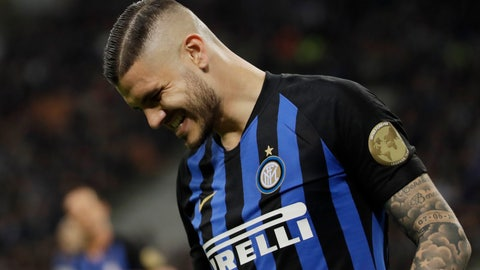 <p>               Inter Milan's Mauro Icardi grimaces during a Serie A soccer match between Inter Milan and Chievo, at the San Siro stadium in Milan, Italy, Monday, May 13, 2019. (AP Photo/Luca Bruno)             </p>