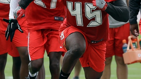 <p>               Tampa Bay Buccaneers first-round draft pick Devin White (45) runs over pads during NFL football rookie camp Friday, May 10, 2019, in Tampa, Fla. (AP Photo/Chris O'Meara)             </p>
