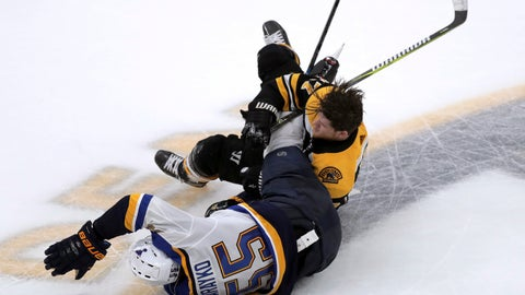 <p>               Boston Bruins' Torey Krug, rear, tangles with St. Louis Blues' Colton Parayko during the second period in Game 2 of the NHL hockey Stanley Cup Final, Wednesday, May 29, 2019, in Boston. (AP Photo/Charles Krupa)             </p>