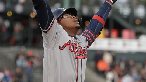 <p>               Atlanta Braves' Ronald Acuna Jr. celebrates after hitting a solo home run against the San Francisco Giants during the first inning of a baseball game in San Francisco, Monday, May 20, 2019. (AP Photo/Jeff Chiu)             </p>