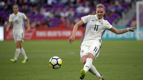 <p>               FILE - In this March 7, 2018, file photo, Germany forward Alexandra Popp (11) attempts a shot during the second half of a SheBelieves Cup women's soccer match against France in Orlando, Fla. (AP Photo/Phelan M. Ebenhack, File)             </p>