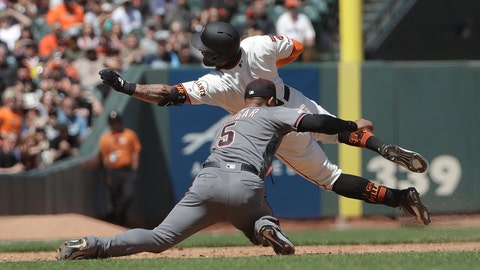 <p>               San Francisco Giants' Kevin Pillar, top, is tagged out by Arizona Diamondbacks third baseman Eduardo Escobar (5) while trying to reach third after doubling during the sixth inning of a baseball game in San Francisco, Saturday, May 25, 2019. (AP Photo/Jeff Chiu)             </p>
