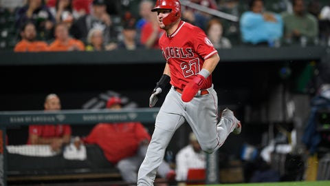 <p>               Los Angeles Angels' Mike Trout runs toward home to score on a single by Andrelton Simmons during the fifth inning of a baseball game against the Baltimore Orioles on Friday, May 10, 2019, in Baltimore. (AP Photo/Nick Wass)             </p>