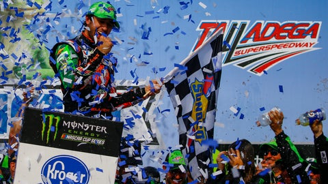 <p>               Chase Elliott, left, celebrates after winning a NASCAR Cup Series auto race at Talladega Superspeedway, Sunday, April 28, 2019, in Talladega, Ala. (AP Photo/Butch Dill)             </p>