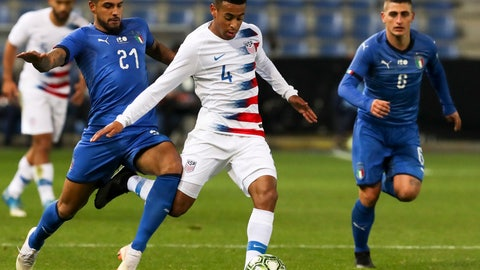 <p>               FILE - In this Tuesday, Nov. 20, 2018 file photo, Italy's Emerson (21), United States' Tyler Adams (4) and Italy's Marco Verratti (6) fight for the ball during the international friendly soccer match at the Cristal Arena in Genk, Belgium. American midfielder Tyler Adams has recovered from an adductor injury that has sidelined him for more than a month and could play in RB Leipzig's Bundesliga finale this weekend. The 20-year-old is available for Saturday's match at Werder Bremen, Leipzig said Thursday, May 16, 2019. (AP Photo/Francisco Seco, File)             </p>