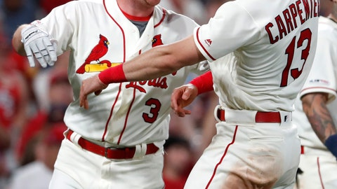 <p>               St. Louis Cardinals' Jedd Gyorko (3) is congratulated by teammate Matt Carpenter (13) after hitting a three-run home run during the eighth inning of a baseball game against the Atlanta Braves, Saturday, May 25, 2019, in St. Louis. (AP Photo/Jeff Roberson)             </p>