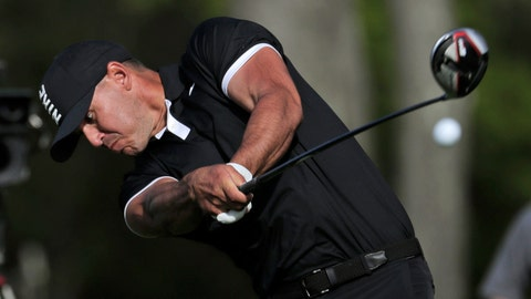 <p>               Brooks Koepka drives off the 12th tee during the third round of the PGA Championship golf tournament, Saturday, May 18, 2019, at Bethpage Black in Farmingdale, N.Y. (AP Photo/Julio Cortez)             </p>