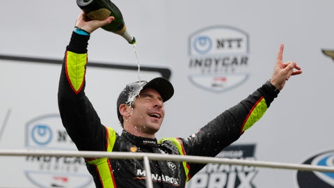 <p>               Simon Pagenaud, of France, celebrates after winning the Indy GP IndyCar auto race at Indianapolis Motor Speedway, Saturday, May 11, 2019, in Indianapolis. (AP Photo/Michael Conroy)             </p>