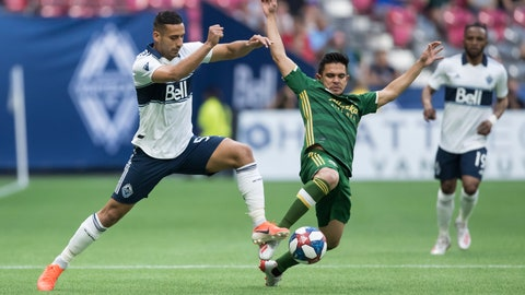 <p>               Vancouver Whitecaps' Ali Adnan, left, and Portland Timbers' Andres Flores vie for the ball during the first half of an MLS soccer match Friday, May 10, 2019, in Vancouver, British Columbia. (Darryl Dyck/The Canadian Press via AP)             </p>