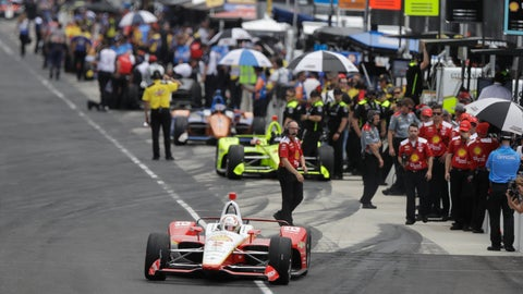 <p>               Josef Newgarden pulls out of the pits during practice for the Indianapolis 500 IndyCar auto race at Indianapolis Motor Speedway, Friday, May 17, 2019 in Indianapolis. (AP Photo/Darron Cummings)             </p>
