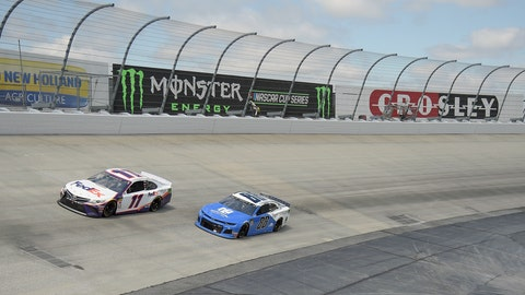<p>               Denny Hamlin (11) leads Alex Bowman (88) during the NASCAR Cup Series auto race, Monday, May 6, 2019, at Dover International Speedway in Dover, Del. (AP Photo/Will Newton)             </p>