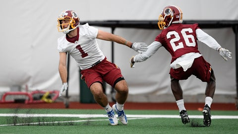 <p>               Washington Redskins wide receiver VInny Papale (1) runs a drill against cornerback Tyler Green (26) during an NFL football rookie camp, Saturday, May 11, 2019, in Ashburn, Va. (AP Photo/Nick Wass)             </p>
