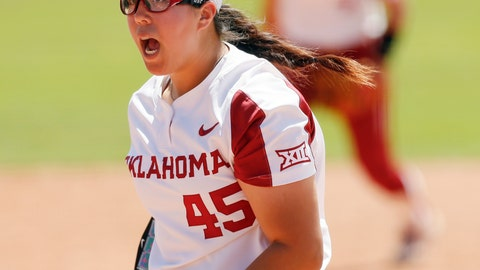 <p>               FILE - In this Friday, May 10, 2019, file photo, Oklahoma pitcher Giselle Juarez screams after getting a strikeout to end the top of the third inning against Texas Tech during a Big 12 softball tournament game in Oklahoma City. Oklahoma and Oklahoma State have both qualified for the Women's College World Series for the first time since 2011. It should be an extra special week for the event to have two schools located within 90 minutes of USA Hall of Fame Stadium. (Nate Billings/The Oklahoman via AP, File)             </p>